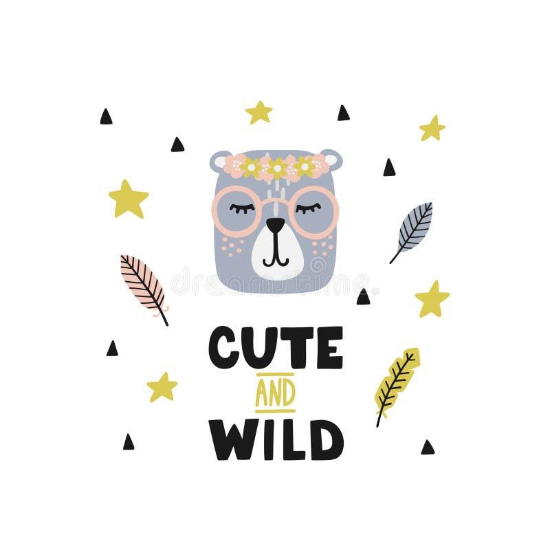 Kinderachtige affiche met leuk beer-meisje in glazen en het van letters voorzien van Fanny vector illustratie