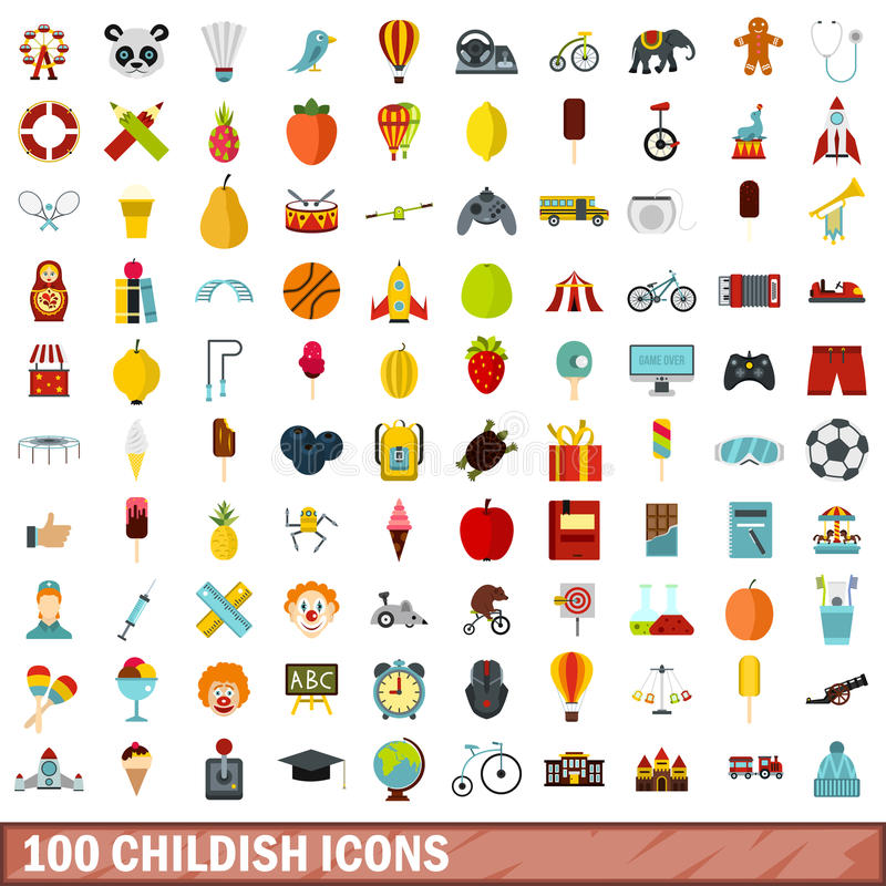 100 kinderachtige geplaatste pictogrammen, vlakke stijl royalty-vrije illustratie