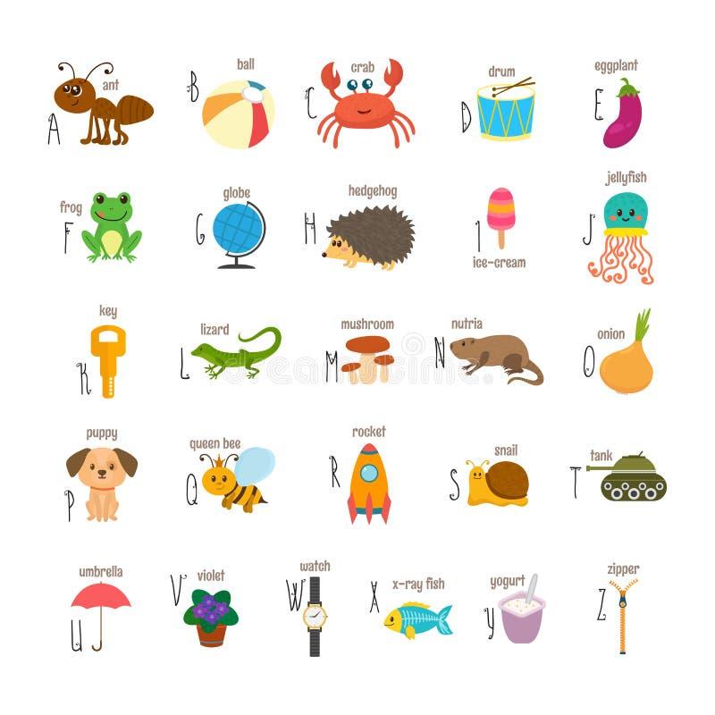 Kinderalphabet mit netten Karikaturtieren und anderem lustigem elem stock abbildung