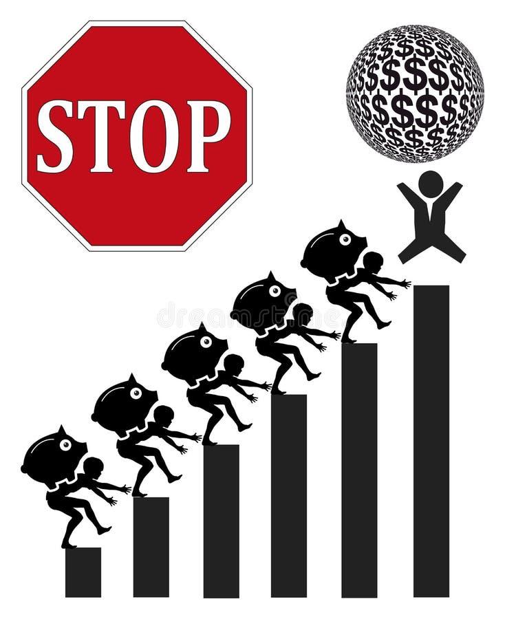 Kinderarbeit und Aktiengewinne stock abbildung