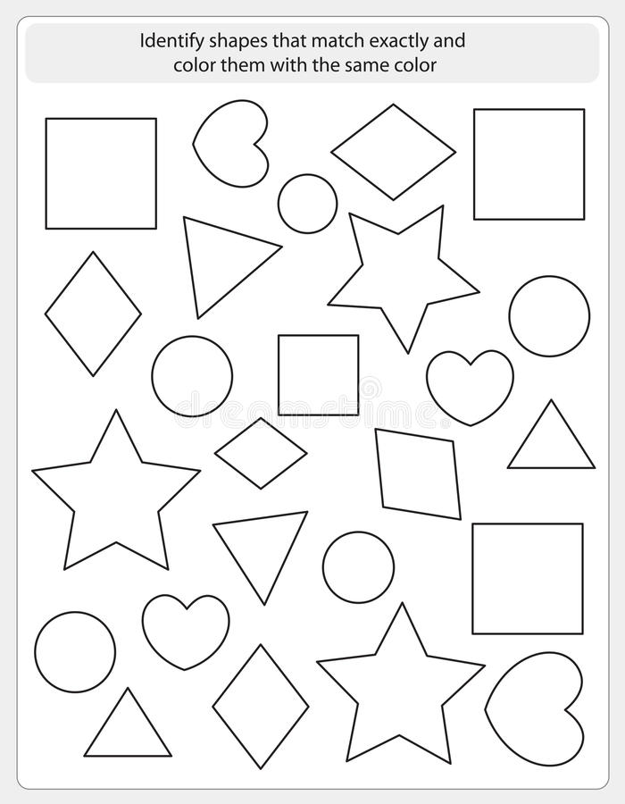 Kinderarbeitsblattmatch und -farbe lizenzfreie abbildung