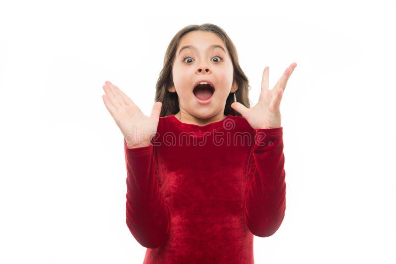 Kinderaufgeregtes emotionales kann ihren Augen nicht glauben Überraschendes Gefühl Netter aufgeregter Gesichtsausdruck des Mädche stockbild