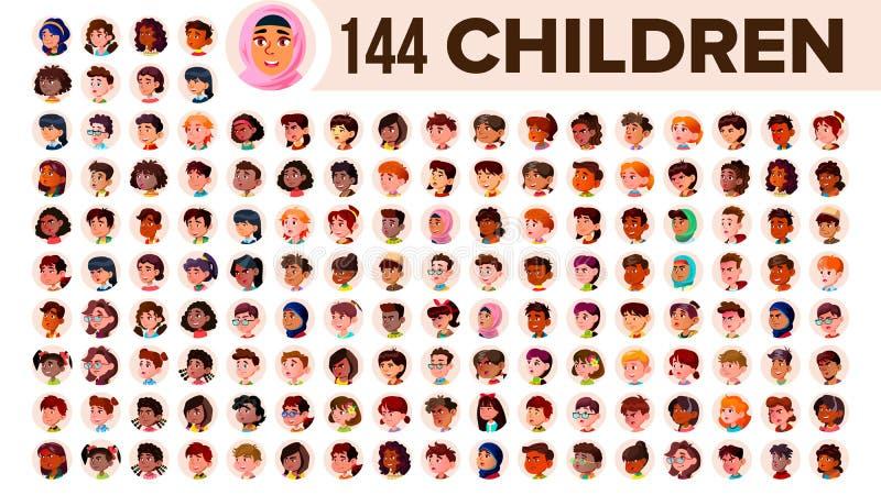 Kinderavatara-Satz-Vektor Kindermädchen, Kerl Ethnisch gemischt Stellen Sie Gefühle gegenüber Multinationales Benutzer-Leute-Port stock abbildung