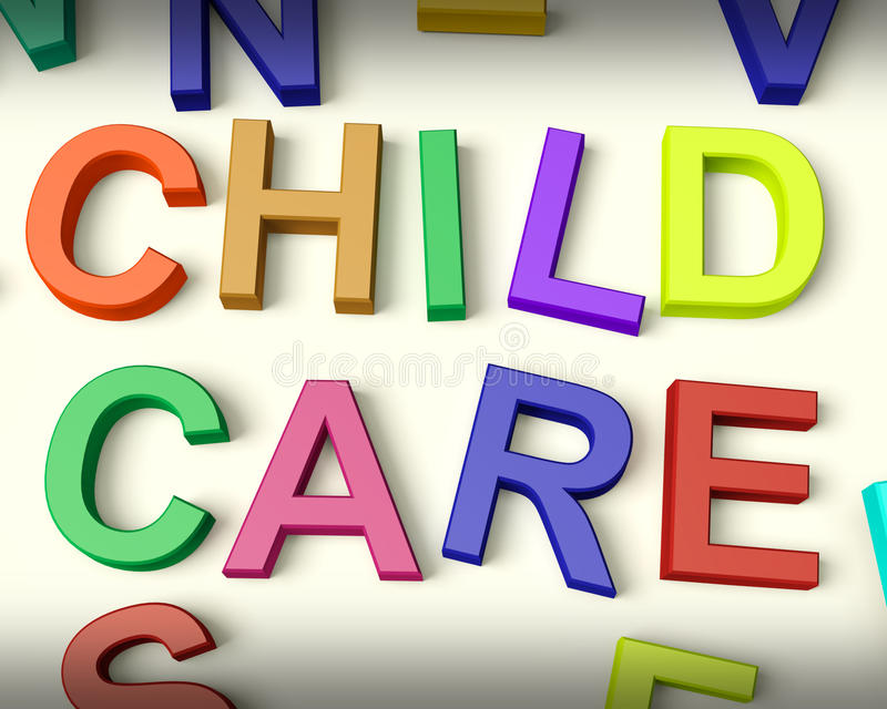 Kinderbetreuung geschrieben in mehrfarbige Kind-Zeichen lizenzfreie abbildung