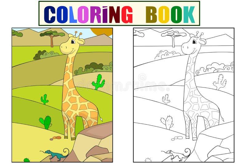 Kinderbildkarikatur-Tier Safari Die Giraffe geht in die Reinigung Vektor-Farbton, Schwarzweiss vektor abbildung