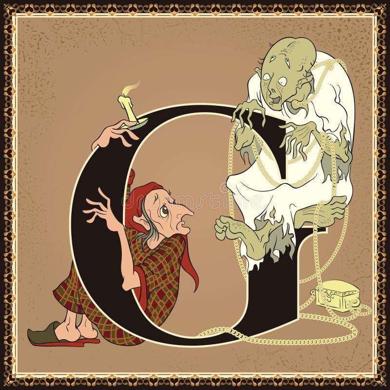 Kinderbuch-Karikaturmärchenalphabet Buchstabe G Geizkragen und Marley-` s Geist ein Weihnachten Carol durch Charles Dickens stock abbildung