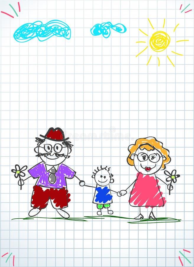 Kinderbunte Bleistift-Zeichnung des Großvaters, der Großmutter und des Enkels zusammen lizenzfreie abbildung