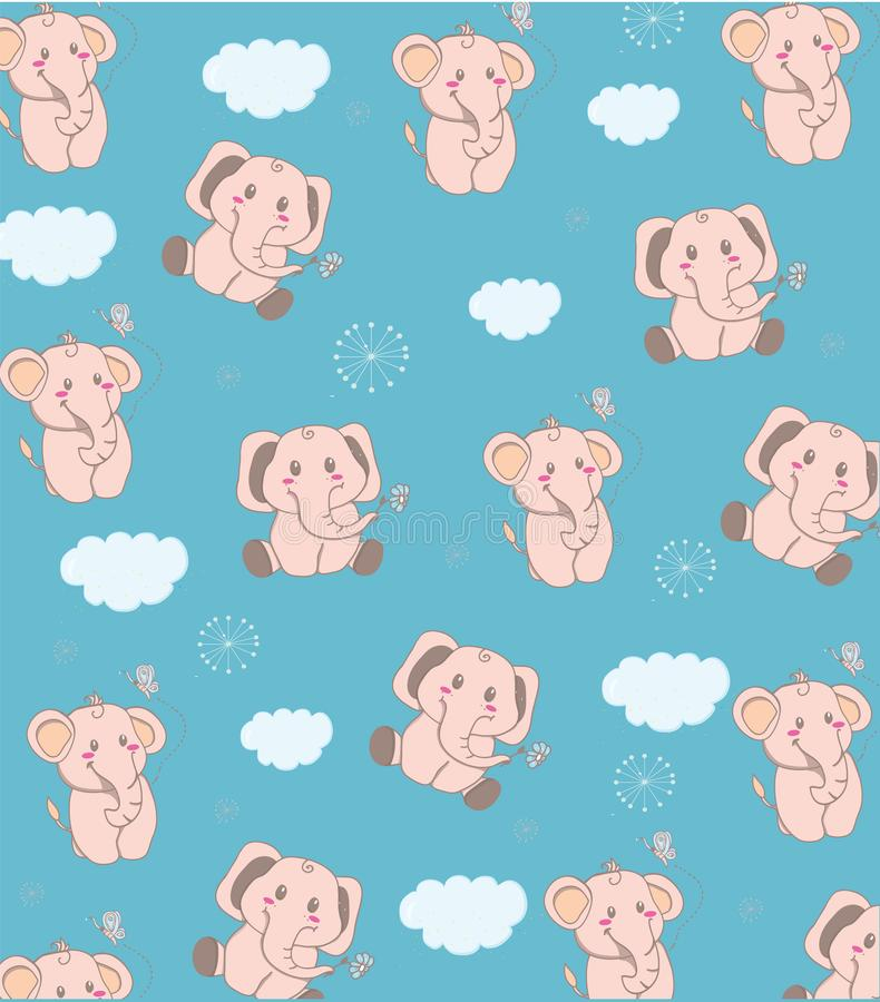 Kinderbunter Hintergrund mit Elefanten stock abbildung