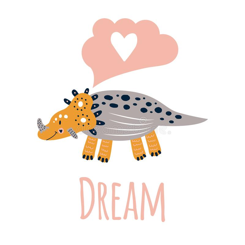 Kinderdagverblijf leuke druk met dinosaurus triceratops Grijze speld, geel, droom Voor de t-shirts van kinderen, affiches, banner vector illustratie