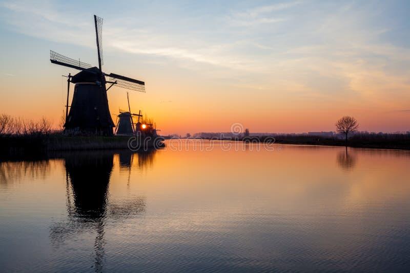 Kinderdijk in holland stock image
