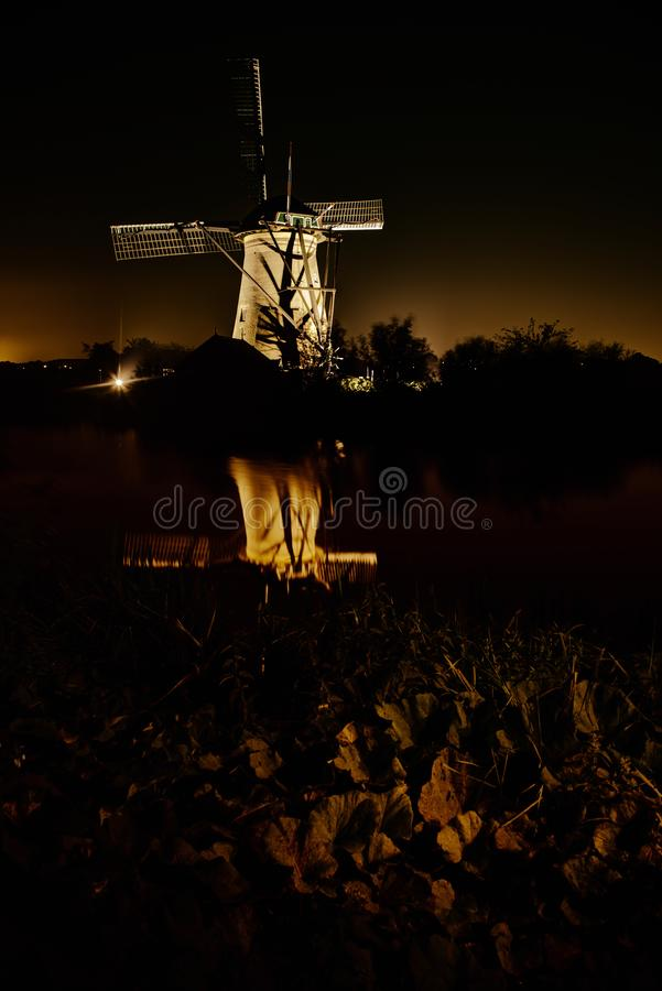 Kinderdijk ljusfestival arkivbilder