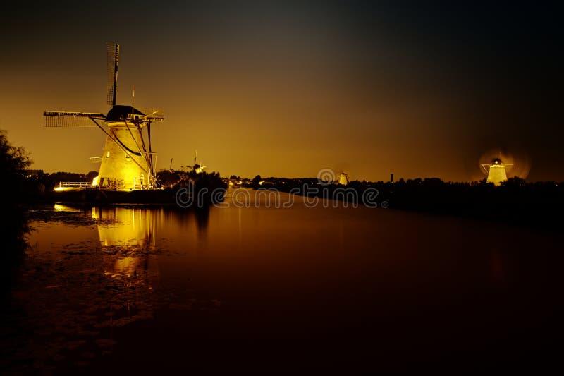 Kinderdijk ljusfestival arkivfoton