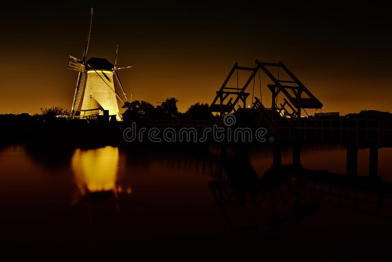 Kinderdijk ljusfestival royaltyfri fotografi