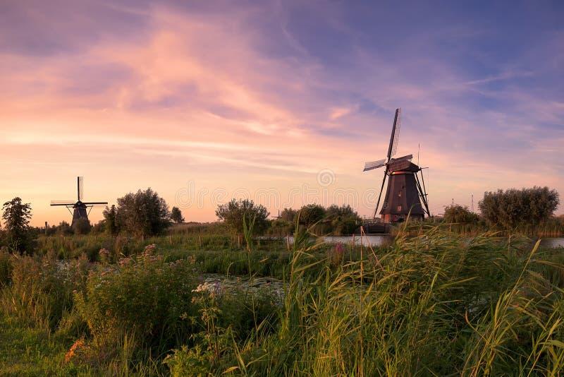 Kinderdijk-Windmühlen in den Niederlanden auf Sonnenuntergang lizenzfreie stockfotos