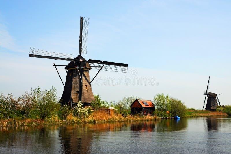 Kinderdijk windmills stock photo