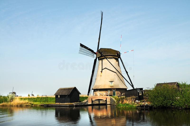 Kinderdijk windmills stock image