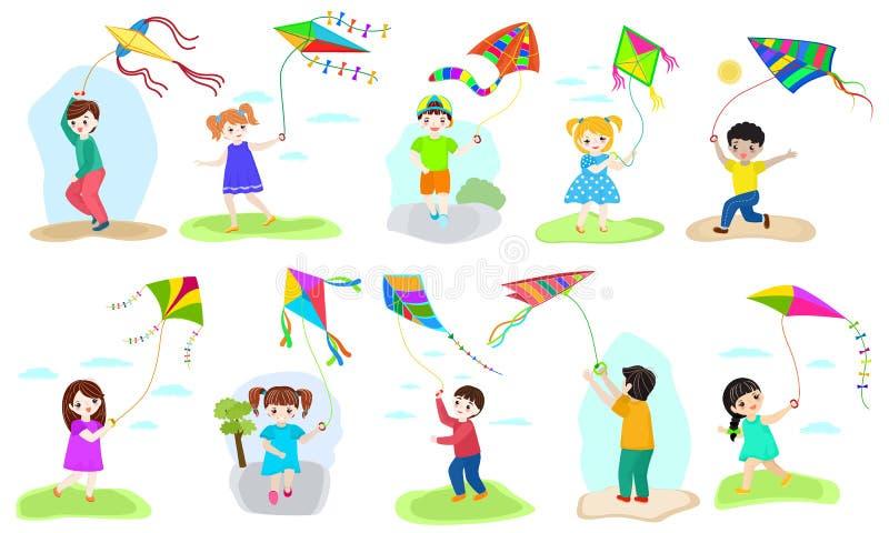 Kinderdrachenvektorkindercharakterjunge und -mädchen, die childly kiteflying Tätigkeitsillustrationssatz Kinder mit spielen vektor abbildung