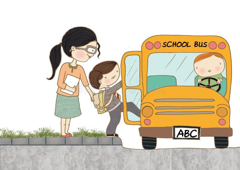 Kindereinstieg-Schulbus stockfoto