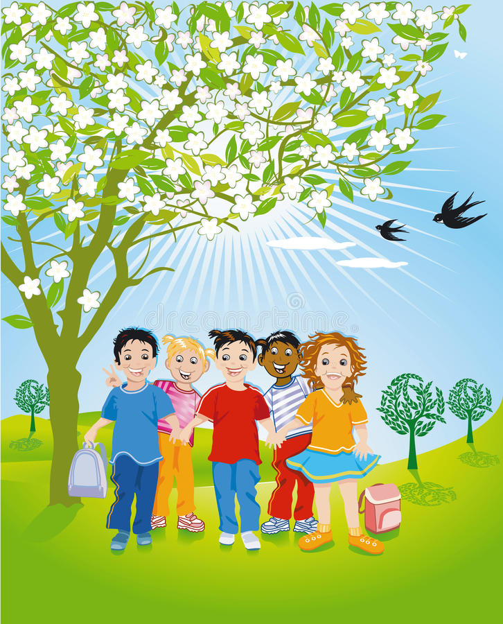 Kinderen in Aard vector illustratie