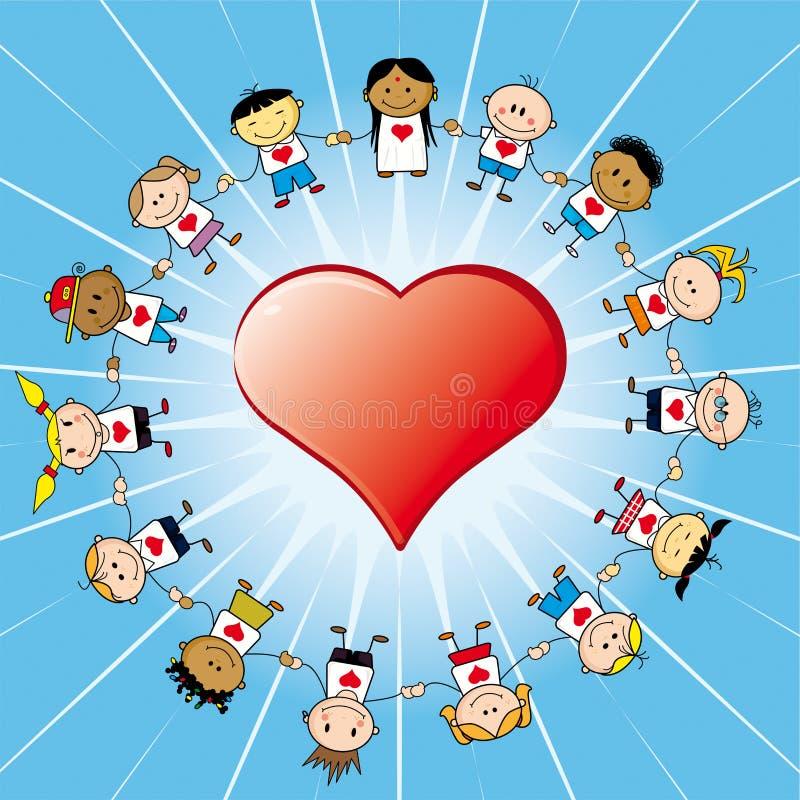 Kinderen arround een hart   royalty-vrije illustratie