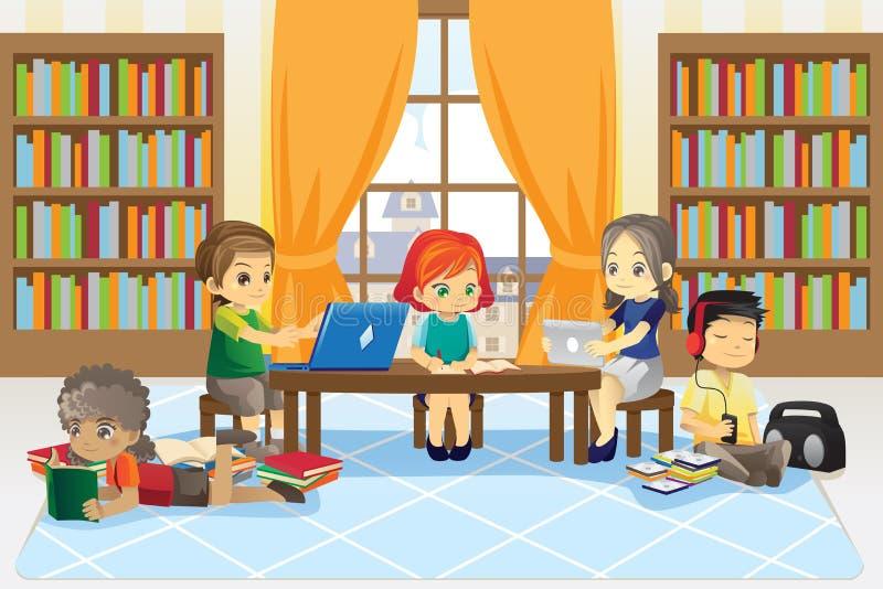 Kinderen in bibliotheek stock illustratie