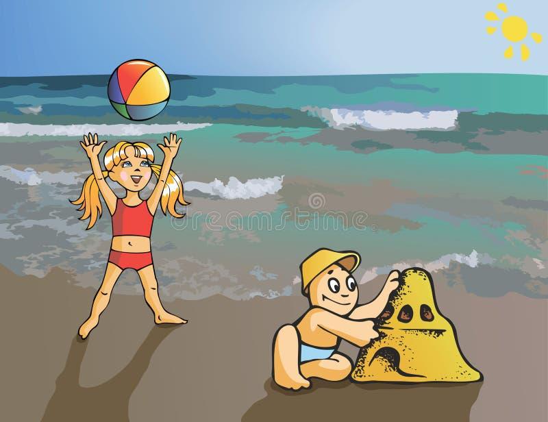 Kinderen bij de kustvector vector illustratie