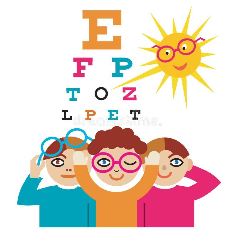 Kinderen bij de oogarts vector illustratie