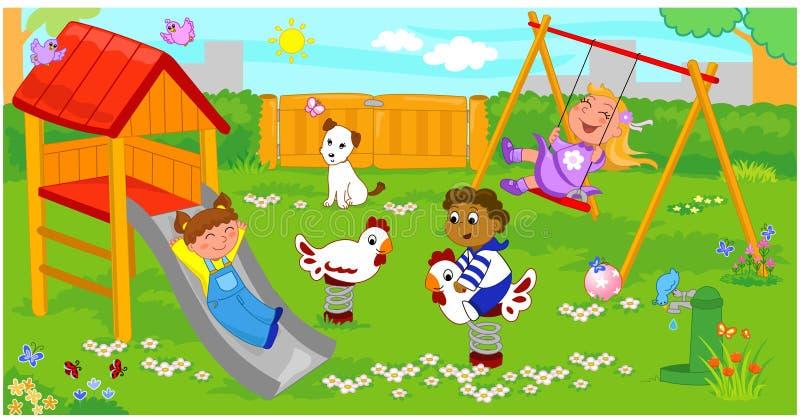 Kinderen bij de speelplaats royalty-vrije illustratie