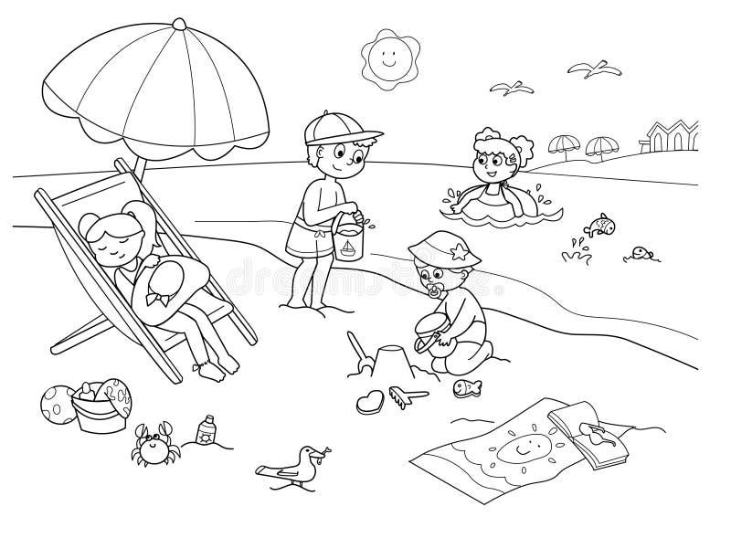Kinderen bij het strand vector illustratie