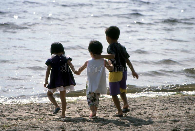 Kinderen bij het Strand stock afbeeldingen