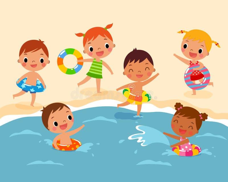 Kinderen bij het Strand royalty-vrije illustratie