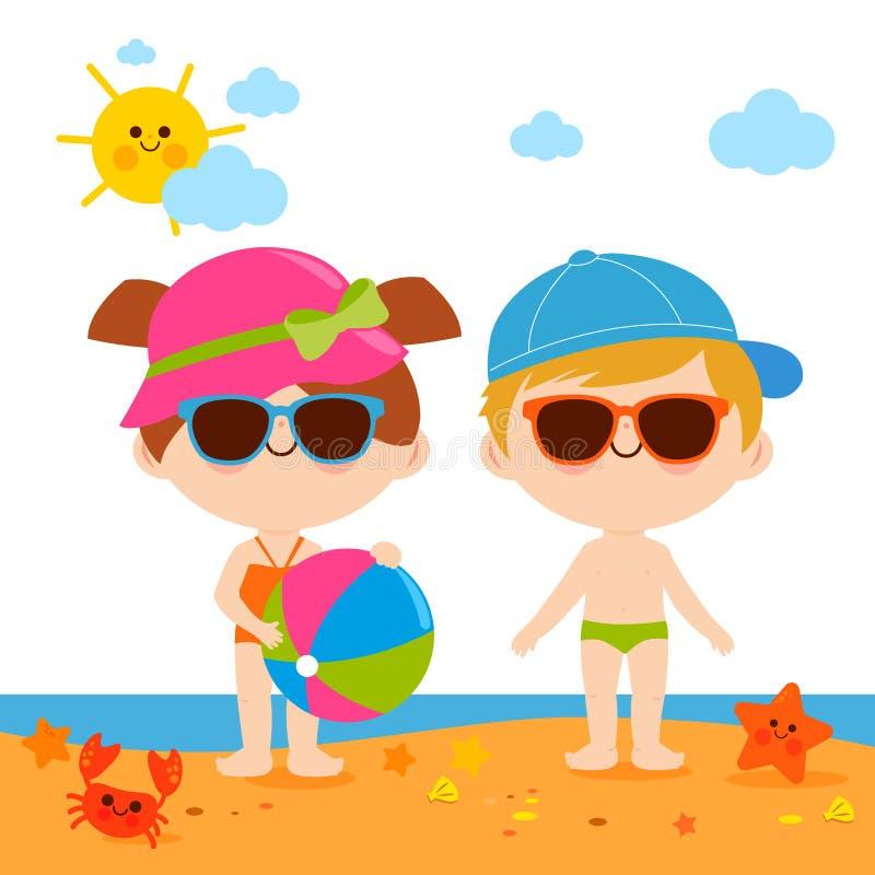 Kinderen bij het strand met hoeden en zonnebril stock illustratie