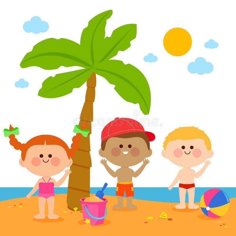 Kinderen bij het strand onder een palm vector illustratie