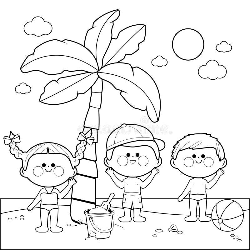Kinderen bij het strand onder een palm Zwart-witte kleurende boekpagina vector illustratie