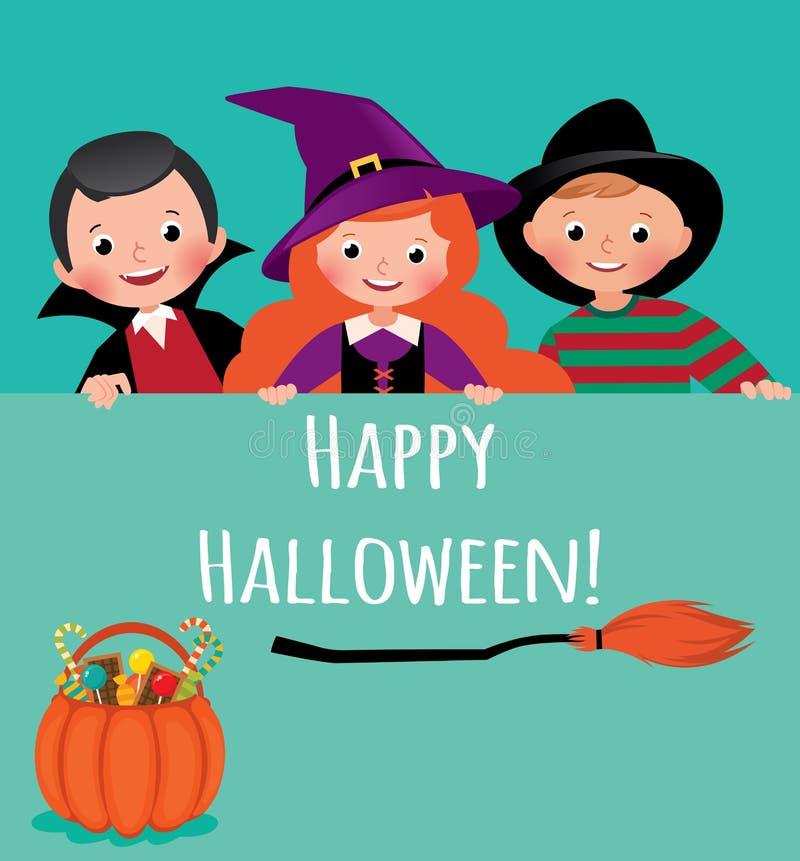 Kinderen in Carnaval-kostuums van Halloween die een lege banner houden vector illustratie