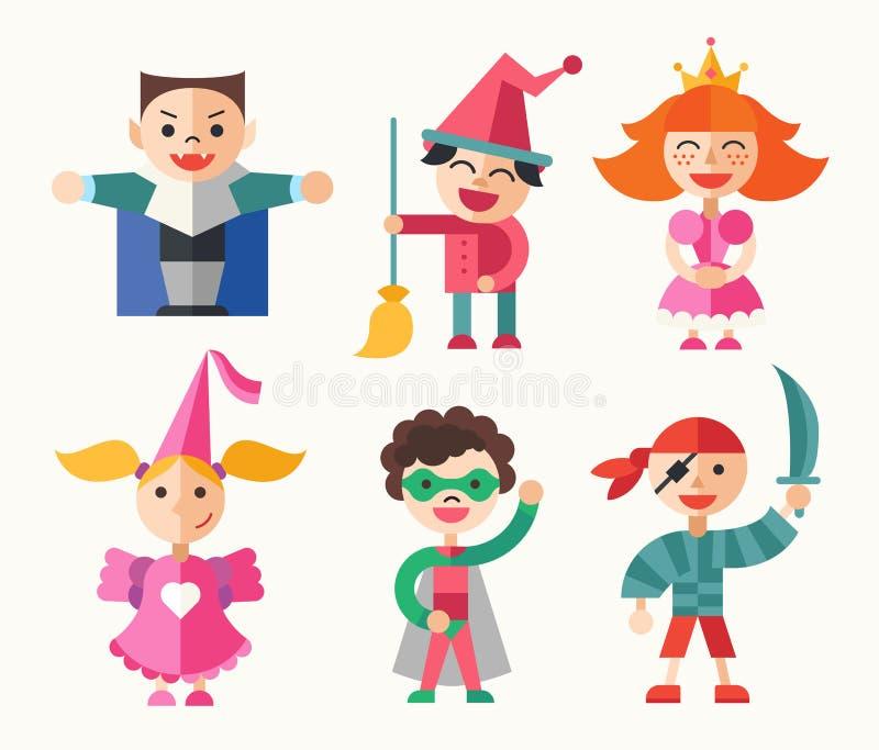 Kinderen in Carnaval-kostuums - vlakke ontwerpset van tekens stock illustratie