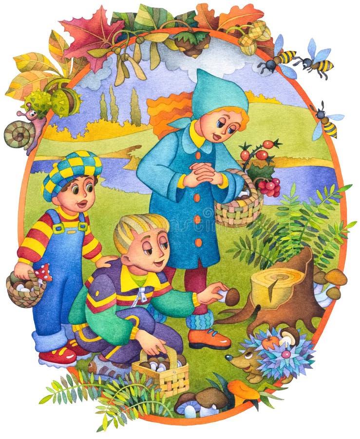 Kinderen in de herfst stock illustratie