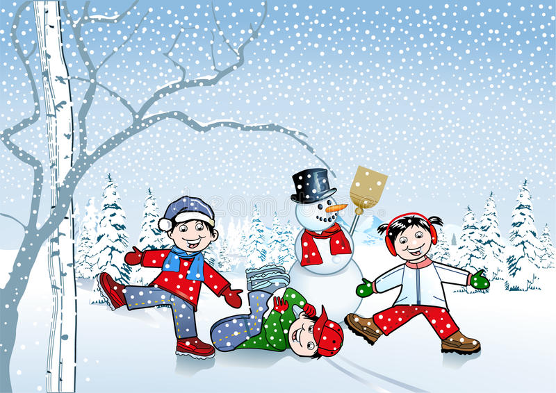 Kinderen in de sneeuw vector illustratie