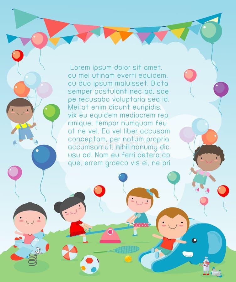 Kinderen in de speelplaats, Malplaatje voor reclamefolder, jonge geitjes bij speelplaats, uw tekst, Jonge geitjes en kader, kind  stock illustratie