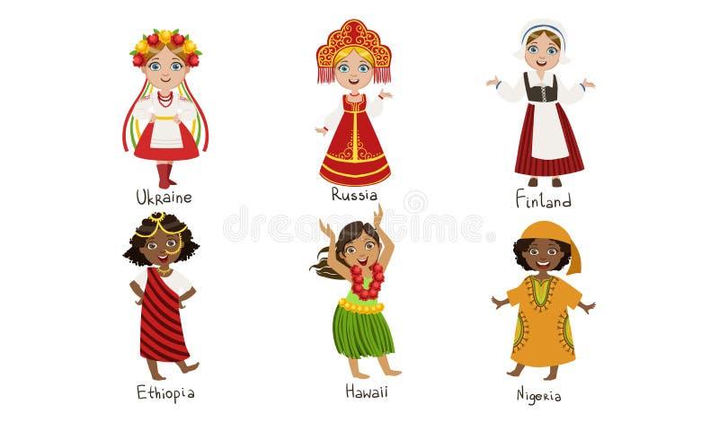 Kinderen in de Traditionele Kostumes Set, Oekraïne, Rusland, Finland, Ethiopië, Hawaii, Nigeria Vector Illustratie royalty-vrije illustratie