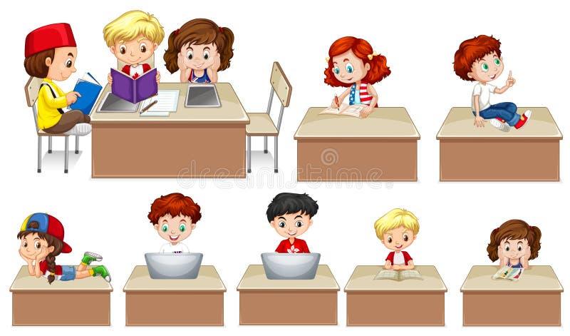 Kinderen die aan lijst werken stock illustratie