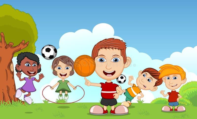 Kinderen die basketbal, touwtjespringen, voetbal in de vectorillustratie van het parkbeeldverhaal spelen stock illustratie