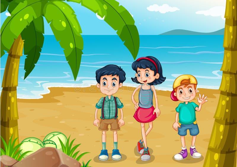 Kinderen die bij het strand wandelen royalty-vrije illustratie
