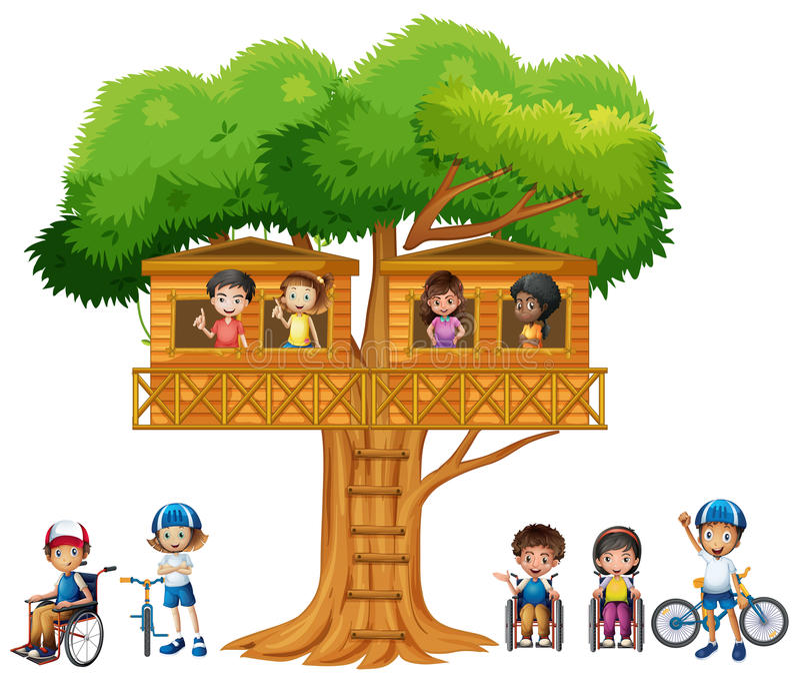 Kinderen die bij treehouse spelen royalty-vrije illustratie
