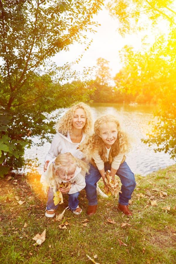 Kinderen die bladeren in de herfst verzamelen stock fotografie