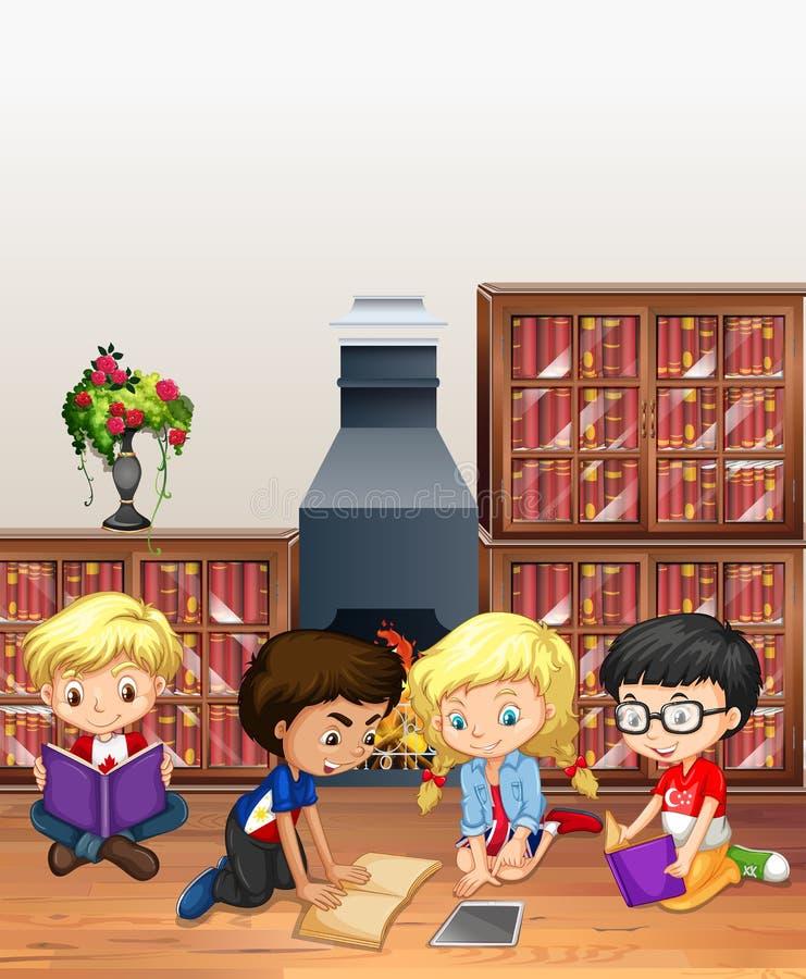 Kinderen die boeken in de bibliotheek lezen royalty-vrije illustratie