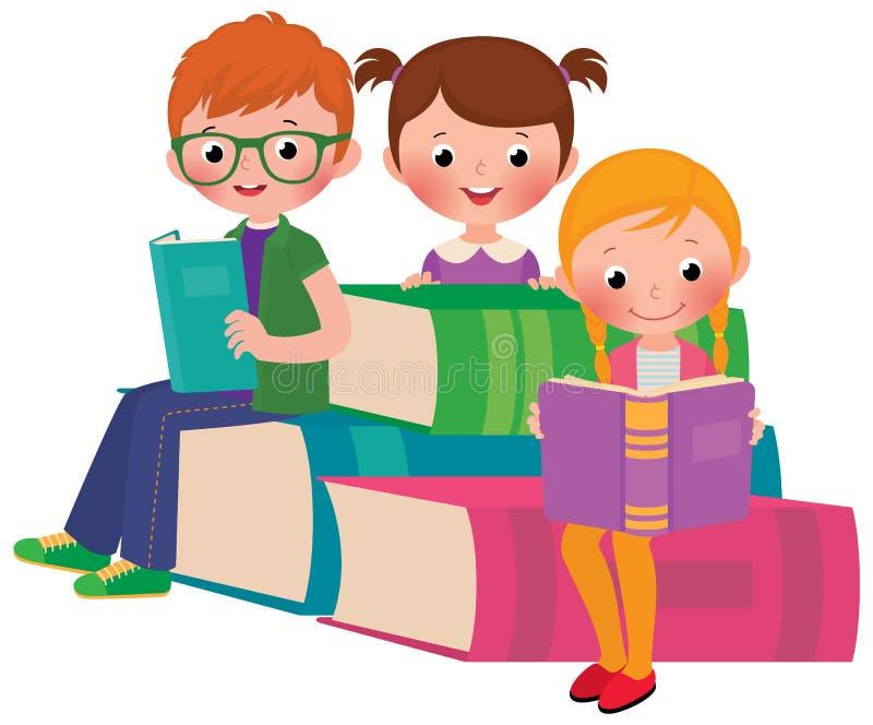 Kinderen die boeken lezen royalty-vrije illustratie