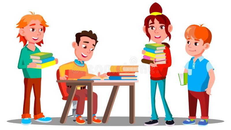 Kinderen die Boeken samen in Bibliotheek, de Vector van het Onderwijsconcept lezen Lezing Geïsoleerdeo illustratie stock illustratie