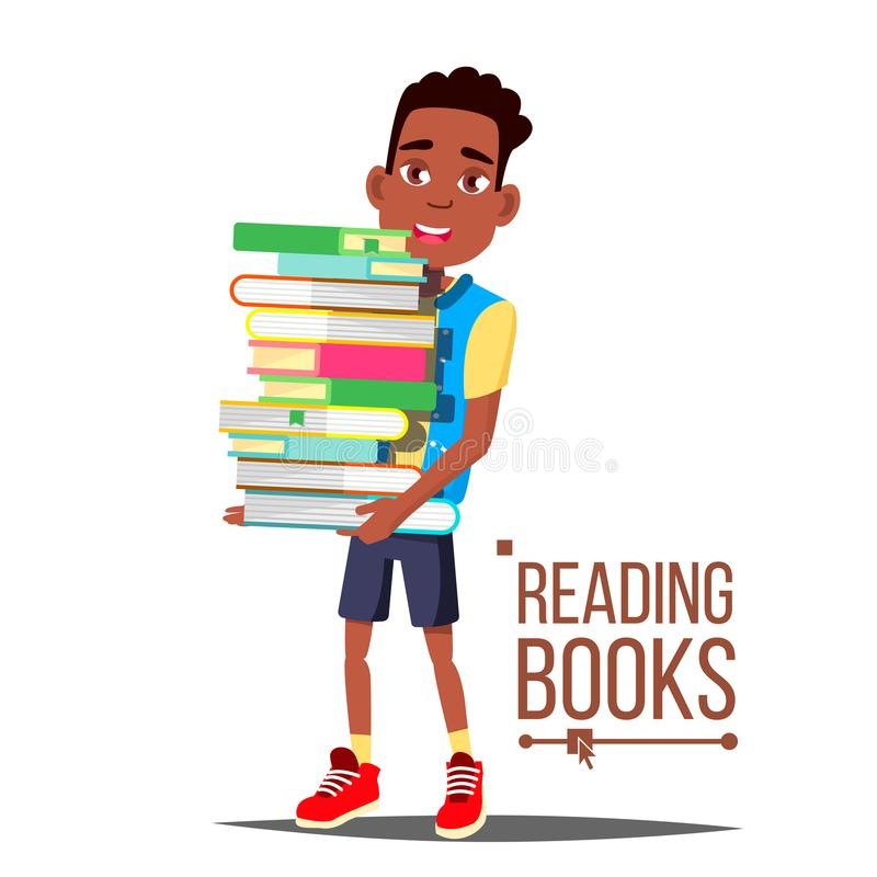 Kinderen die Boekenvector lezen Arfo Amerikaanse Jongen met Grote Stapel Boeken Onderwijs zwart Het Concept van de kindbibliothee royalty-vrije illustratie