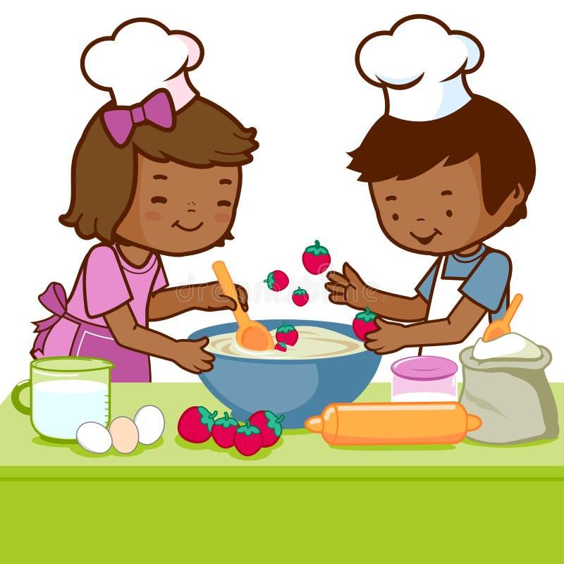Kinderen die in de keuken koken stock illustratie